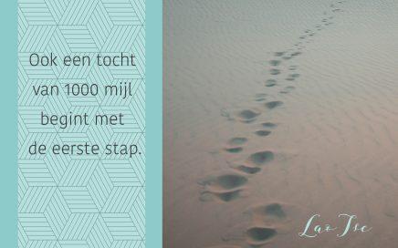 Lao Tse - Ook een tocht van 1000 mijl begint met de eerste stap